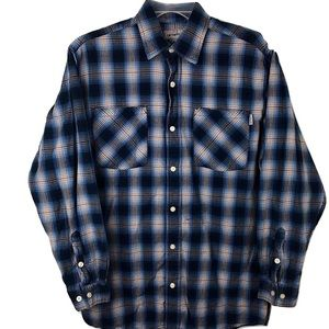 Carhartt Flannel Shirt Button Up Blue Western M
